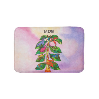 Whimsical Frog Tree of Life Watercolor Monogram Bath Mat