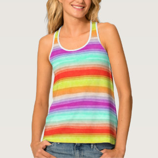 Whimsical Fun Modern Watercolor Stripes Pattern Tank Top