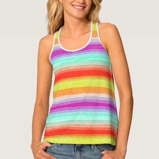 Whimsical Fun Modern Watercolor Stripes Pattern Tank Top