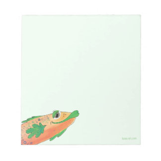 Whimsical Funky Fish Painting Orange and Green Notepad
