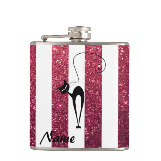 Whimsical Funny black cat stripes personalized Hip Flask