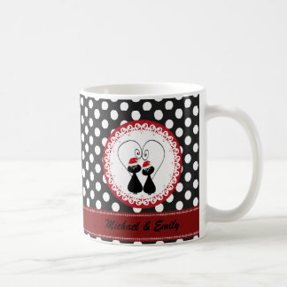 Whimsical funny Christmas cat couple personalized Coffee Mug