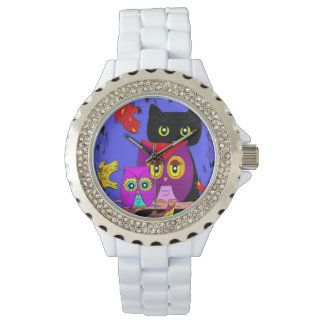 Whimsical Funny Forest Owls Black Cat Creationarts Wristwatch