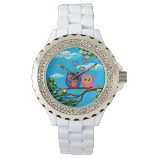 Whimsical Funny Forest Owls Creationarts Wristwatch