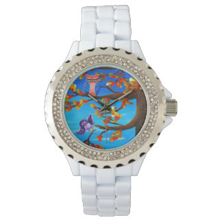 Whimsical Funny Forest Owls Creationarts Wristwatches