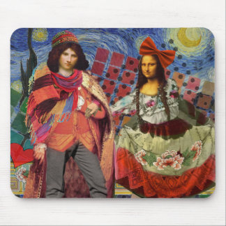 Whimsical Funny Vintage Wedding Couple Mouse Pad