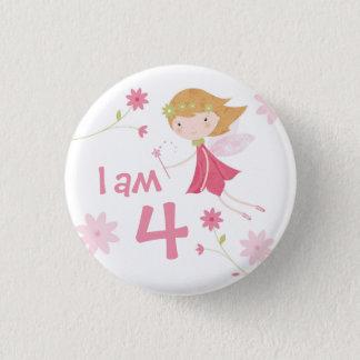 Whimsical Garden Fairy Birthday Age Badge Button