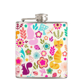 Whimsical Garden Kitty - Colorful Gift Flask
