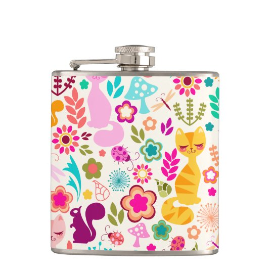 Whimsical Garden Kitty - Colourful Gift Flask