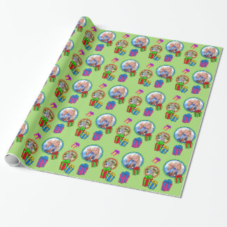 Whimsical Gifts Green with Photos Wrapping Paper