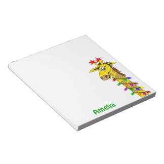 Whimsical Giraffe Christmas Lights Funny Custom Notepad