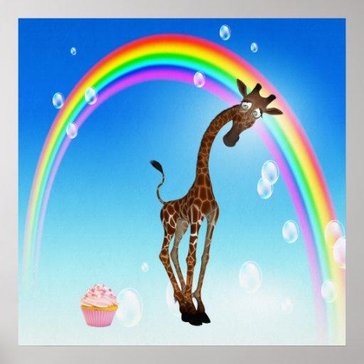 Whimsical Giraffe, Cupcake & Rainbow Poster