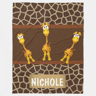 Whimsical Giraffes on Fleece Blanket