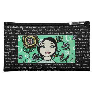 Whimsical Girl with Colorful Flowers Handbag Makeup Bag