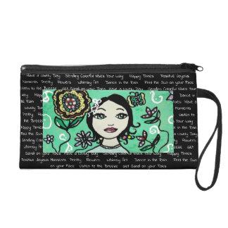 Whimsical Girl with Colorful Flowers Handbag Wristlet