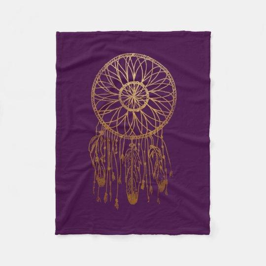 Whimsical Gold Dream Catcher Purple Girly Fleece Blanket