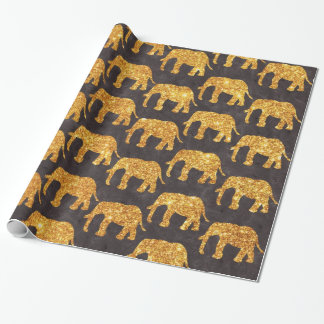Whimsical Gold Glitter Elephants Pattern on Gray