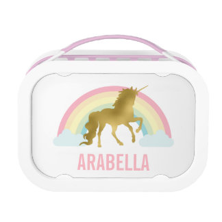 Whimsical Gold Unicorn Girl's Lunch Boxes