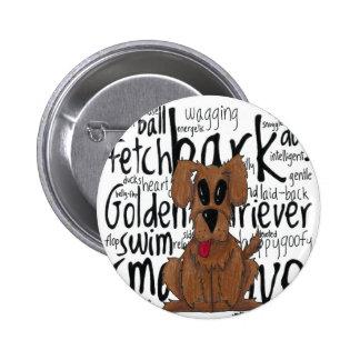 Whimsical Golden Retriever Button
