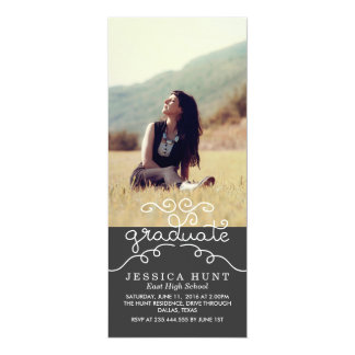 Whimsical Graduate Cute Typography Photo Charcoal Card