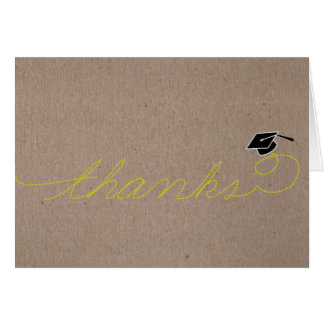 Whimsical Graduation Thank You Yellow Greeting Card