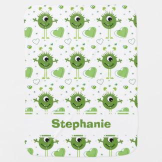 Whimsical Green Alien Monster St. Patrick's Day Baby Blanket