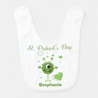 Whimsical Green Alien Monster St. Patrick's Day Bib