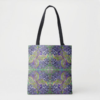 whimsical green and purple butterfly tote bag
