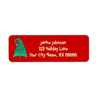 Whimsical Green Christmas Tree Return Address Label