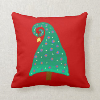 Whimsical Green Christmas Tree Reversable Throw Pillow