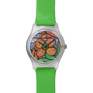 Whimsical Green Floral Watch