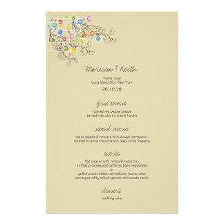 Whimsical Groovy Flower Garden Wedding Menu Personalized Flyer