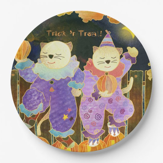 Whimsical Halloween Cats Party Paper Plate