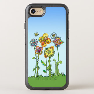 Whimsical, hand drawn flowers OtterBox symmetry iPhone 7 case