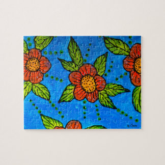 Whimsical hand-painted Red Flowers Puzzle