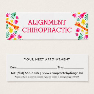 Whimsical Hands Simple Chiropractor Appointment Mini Business Card