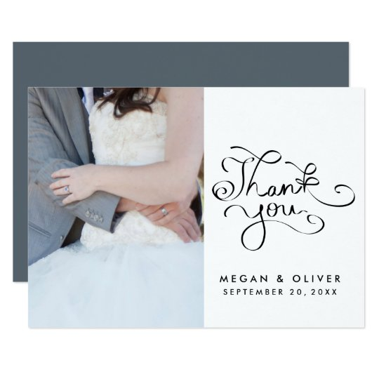 Whimsical Handwritten Thank You Wedding Photo Card