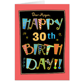 Whimsical Happy 30st Birthday-Funny Card