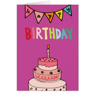 Whimsical Happy Birthday Cake Card