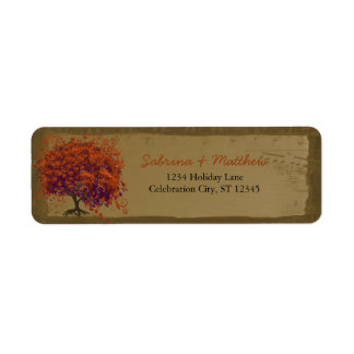 Whimsical Heart Leafed Tree Orange & Plum on Gold
