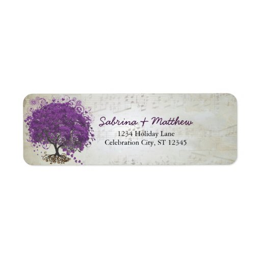 Whimsical Heart Leafed Tree Plum Return Address Return Address Labels