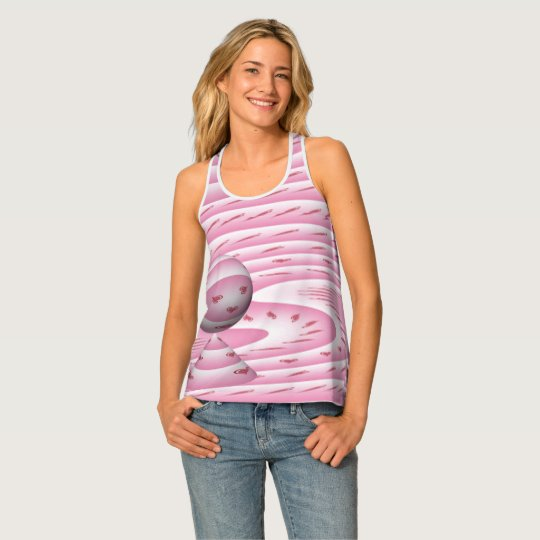 Whimsical Heart Pink Razorback Tank Top by Janz