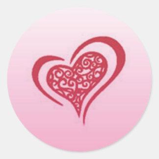 Whimsical Heart Round Sticker