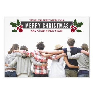 Whimsical Holly Holiday Photo Flat Card