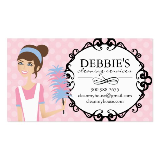 Whimsical House Cleaning Services Business Cards Business Cards