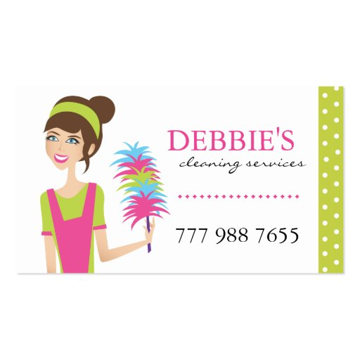 Whimsical House Cleaning Services Business Cards Business Card