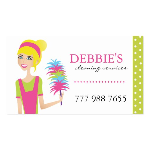 Whimsical House Cleaning Services Business Cards Business Card Template