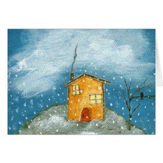 Whimsical House Snowstorm Tree Folk Art Painting Card