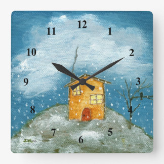 Whimsical House Snowstorm Tree Folk Art Painting Square Wall Clock