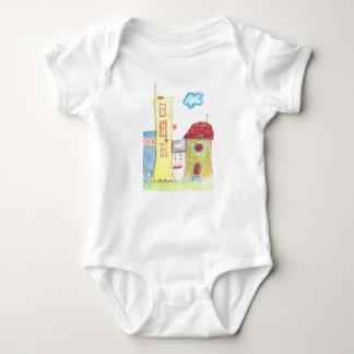 Whimsical Houses Baby Bodysuit